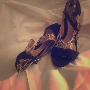 Black and Snake skin(style) leather sandal